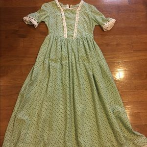 Other - green calico pioneer costume dress w/ bonnet sz 14
